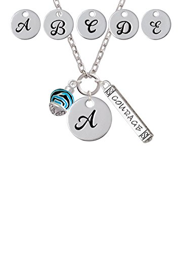 Wide Hot Blue Zebra Print Band Spinner Custom Initial Courage Strength Zoe Necklace