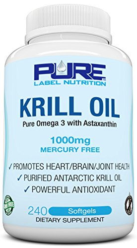 - Krill Oil 1000mg with Astaxanthin 240 Caps Omega 3 6 9 - EPA DHA - 100% Purified, Mercury free and Wild Caught - Non GMO - Gluten FREE - Pure Krill Oil - Mega Dose Phospholipids