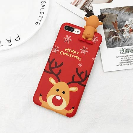 Fitted Cases - Phone Case For Iphone 6 6s 7 8 Plus X Xs Xr Xs Max Cartoon Deer & Snowman Soft Tpu Phone Back Cover Cases - For iPhone 7_Red - Fancy Cable Mobil Lucky Armband Tv Nfc Escape ()