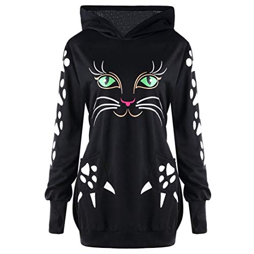 FRCOLT Cat Hoodies, Women Animal Cat Print with Ears Hooded Pullover Tops Plus Size (S, The Dark Knight -