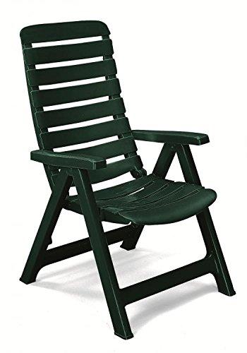Sillón de resina verde oscuro, sillones plegables de jardín ...
