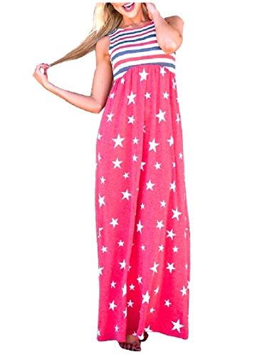 Coolred-femmes Patchwork De Longueur Cheville Patriotique 4 Juillet Robes Veste Rouge