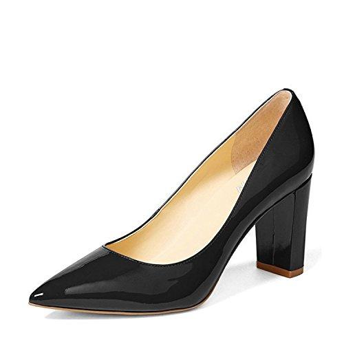 YDN Women's Classic Pointy Toe OL Pumps Slip-On Patent Leather Block Heel Dress Shoes Black 8 Black Leather Classic Pumps