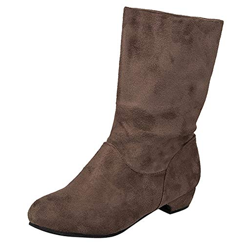 (Goldweather Women Mid Calf Boots Ladies Solid Suede Low Square Heel Slip-On Martin Boots (US:7.5, Khaki))