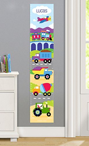 Olive Kids Tptx Trains (Trains Planes and Trucks Personalized Wall Decal Growth Chart By Olive Kids)