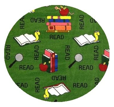 Bookworm Green - 7' ROUND Custom Stainmaster Premium Nylon Carpet Area Rug ~ Bound Finished Edges by Children's Choice