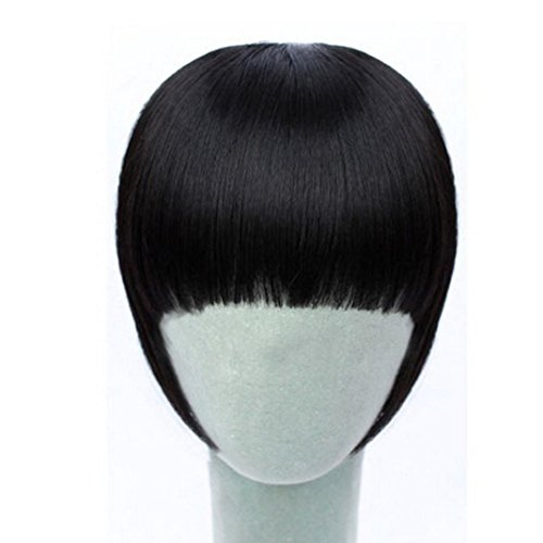 Vibola Pretty Girls Clip On Clip In Front Hair Bang Fringe Hair Extension Straight Cosplay Party Wigs (Corn Roll Hairstyle)