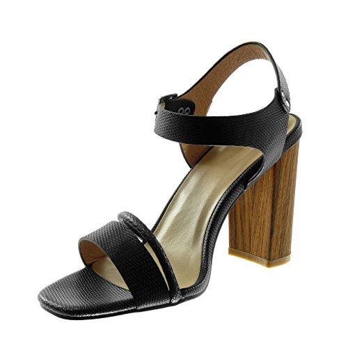 Serpiente Moda 10 Madera Tobillo 5 Sandalias Tacón Cm Correa Piel Alto Negro Ancho correa Multi Zapatillas De Mujer Escarpín Angkorly qWB5ay7TOW