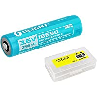 Bundle: Olight 3200mAh 3.6V 18650 Battery for S2R,S30RIII,S30R II,R20, with Skyben Battery case