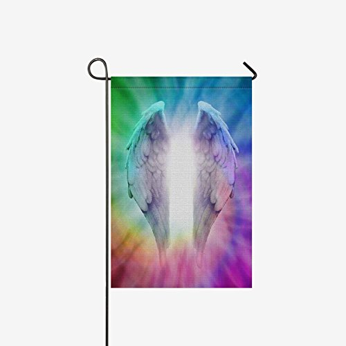INTERESTPRINT Garden Flag Decorative Angel Wings on Rainbow Spiral for Garden and Home Decorations, Polyester Double Sided House Banner 12 x 18 Inches (Without Flagpole)
