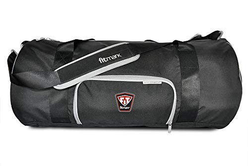 Fitmark Transporter Duffel Bag with Removable Meal Prep Insulated Bag with Portion Control Meal Containers, Reusable Ice Packs, Black (Best Food For Gym)