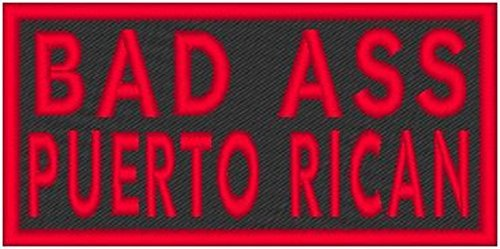 Bad Ass Puerto Rican Patch with Hook & Loop Funny Morale MC Biker Emblem Red Border #41