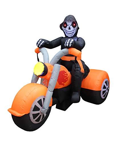 BZB Goods 6 Foot Long Halloween Inflatable Skeleton Ghost Riding on Motorcycle Bike Lights Lighted Blowup Party Decoration for Outdoor Indoor Home Garden LED Prop Yard Blow Up Lawn Decorations -