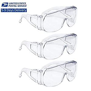Safety Glasses Protective Eyewear Goggles Clear Lens (3 PACK SAFETY GLASSES)