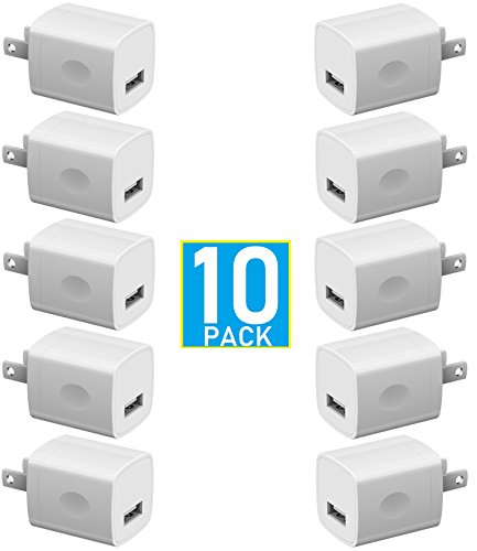 USB Wall Charger, Certified 5W / 1A USB Universal AC USB Home Travel [BUNDLE PACK] Power Wall Charger High Speed 1.0A Output for iPhone iPod Samsung Galaxy Sony HTC LG ()