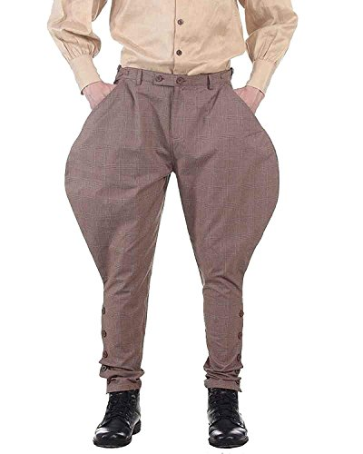 ThePirateDressing Steampunk Victorian Cosplay Costume Mens Archibald Jodhpur Pants Trousers C1326