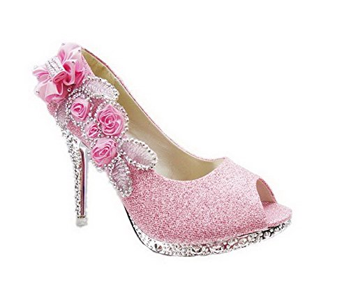 Women's Toe Studded High with WeiPoot Shoes ophx Pink Flowers Pumps Sequins Heels Open fwqdTp1
