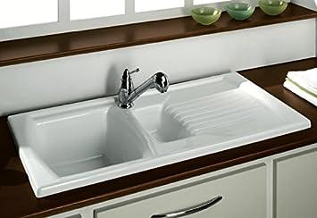 LUNA CERAMIC 1.5 BOWL AND DRAINER KITCHEN SINK WHITE by WATERWORKS ...