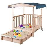 Costzon Kids Retractable Playhouse w/ Sandbox Canopy, Non-Woven Fabric Cloth, Wood Frame Play Area, Two Wheels, Children Outdoor Beach Cabana Sandbox for Outdoor, Lawn, Courtyard (52-Inch, Aquamarine)