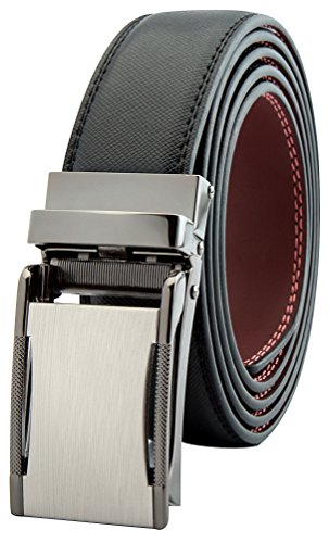 Men's Black Ratchet Belt - Silver Closed Style - by J. Dapper