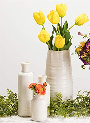 "Sullivans Ceramic Vase, 11.5 x 5 Inches, Distressed White (CM2496) - Stylish ceramic vase makes a great wedding, housewarming or birthday gift Ideal decorative touch to any home with or without floral or greenery added Product Dimensions: 5""L x 5""W x 11.5""H; Waterproof - vases, kitchen-dining-room-decor, kitchen-dining-room - 41RCCJrvOHL -"
