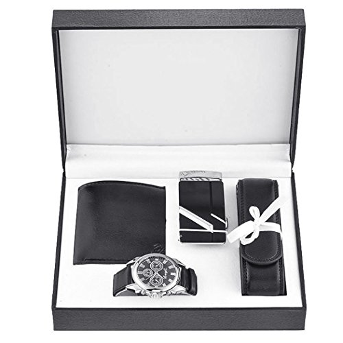 Souarts Mens Black Artificial Leather Belt Wallet Key Chain Set with Box Organizer