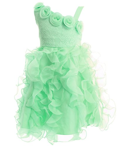 FAIRY COUPLE Big Girl's Ruffled Lace Overlaid Mini Flower Girl Dress K0138 8 Light Green (Green Fairy Dress)