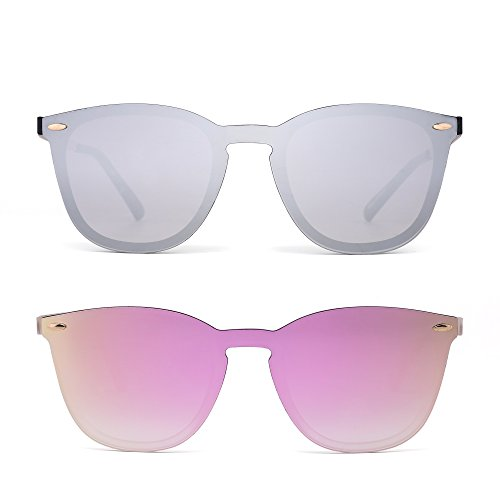 Rimless Fashion Sunglasses - Rimless Sunglasses One Piece Mirror Reflective Eyeglasses for Men Women 2 Pack (Silver & Pink)