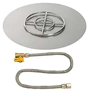 """American Fireglass 36""""redondo acero inoxidable soporte de pan con match Light Kit (18"""" anillo)–Gas Natural"""