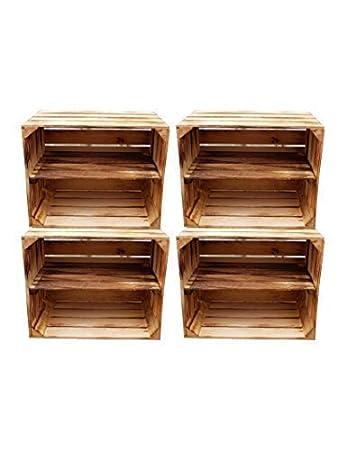Ahora: estantes atornillados - Cajas de madera flameada para uso como zapatero o estantería de libros - Caja de fruta con balda intermedia - Juego de 2 o ...
