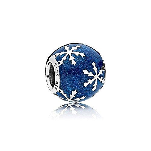 Enamel Snowflake Charm - Pandora Wintry Delight Silver Charm with Midnight Blue Enamel 796357EN63