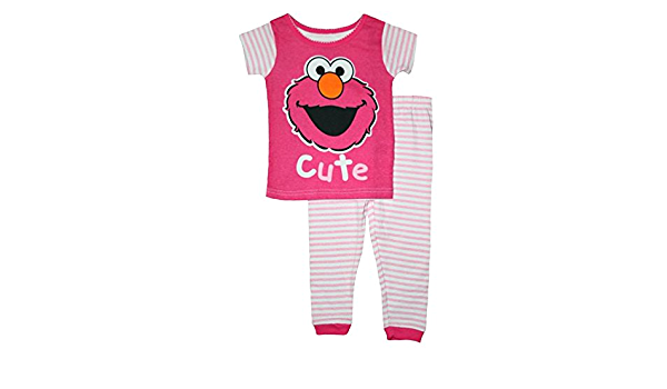 Barrio Sésamo Elmo bebé niñas algodón juego de pijama: Amazon ...
