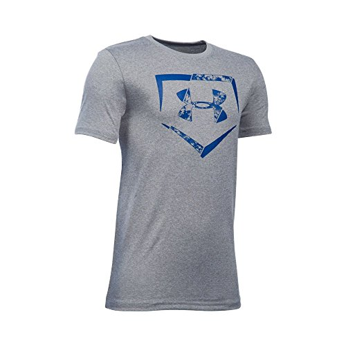 Under Armour Boys' Diamond Logo T-Shirt, True Gray Heather/Royal, Youth Small