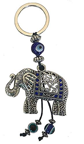 Bravo Team Lucky Blue Evil Eye Keychain Ring for Protection and Blessing, Elephant Charm for Strength and Power, Great Gift -