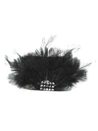 Black Feathers w/ Faux Leather Wrist Band - Leather Bracelet