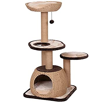 """Image of Catry 43"""" Large Cat Tree Tower with Paper Rope Covered Scratching Post Activity Center for Multiple Cats Climbing Playing and Sleeping Pet Supplies"""
