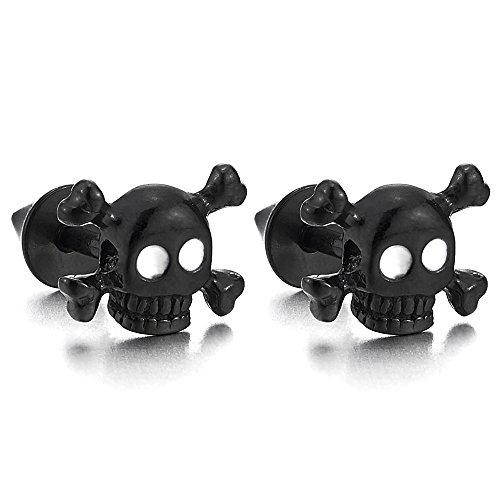 Stainless Steel Black Pirate Skull Stud Earrings Men Women, Gothic Punk Rock, Screw Back, 2 Pcs