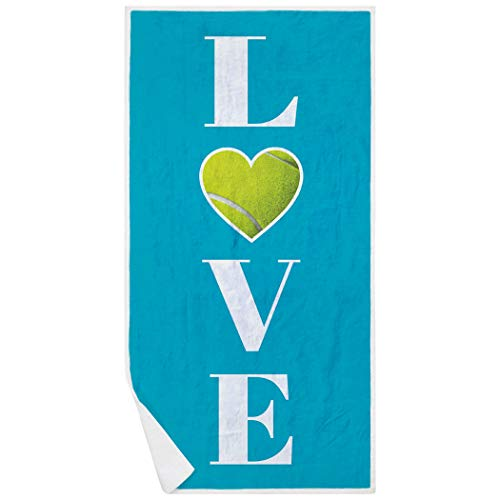 ChalkTalkSPORTS Tennis Premium Beach Towel | Love with Tennis Ball | Blue