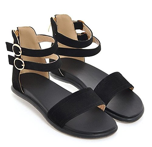Easemax Womens Trendy Faux Suede Open Toe Ankle Buckles Straps Zipper Flats Sandals Black RHtZB0m