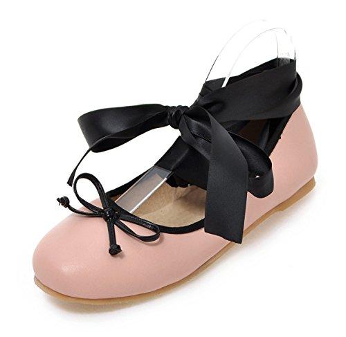 Aisun Femmes Unique Bout Rond À Bout Pointu Gilly Cravate Flats Chaussures Avec Des Arcs Rose
