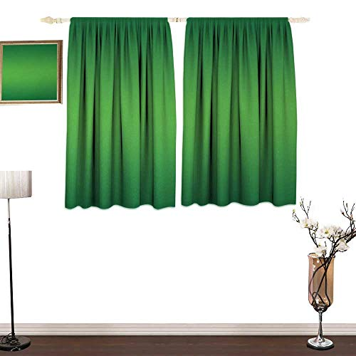 Genhequnan Ombre, Bedroom Full Blackout Curtain Panels, Seaweed and Moss Tropic Nature Asian Seas Inspired for Green Lovers Artwork Digital Print, Art Prints Window Treatment, W63 x L63 Inches, Green