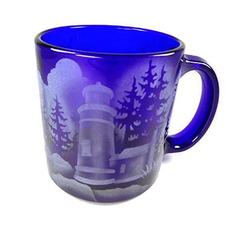 - IncisoArt Hand Etched Coffee Mug Sandblasted (Sand Carved) Glass Handmade Engraved Haceta Head Lighthouse in OR (1, Cobalt Blue Haceta Head Lighthouse in OR)