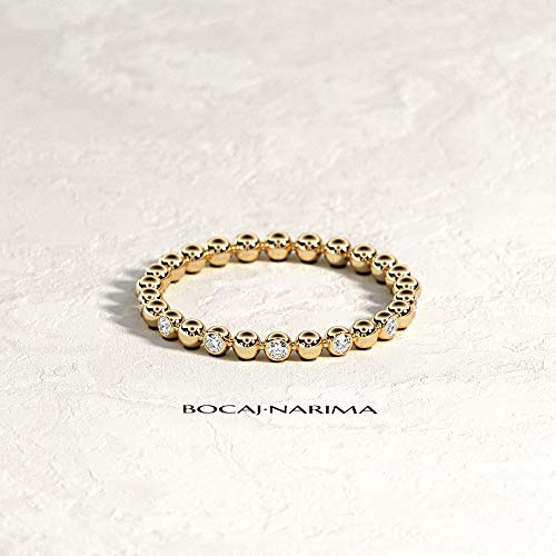 18k Bead Set Bezel - 14k/18k Solid Gold Bezel Set Bead Diamond Ring