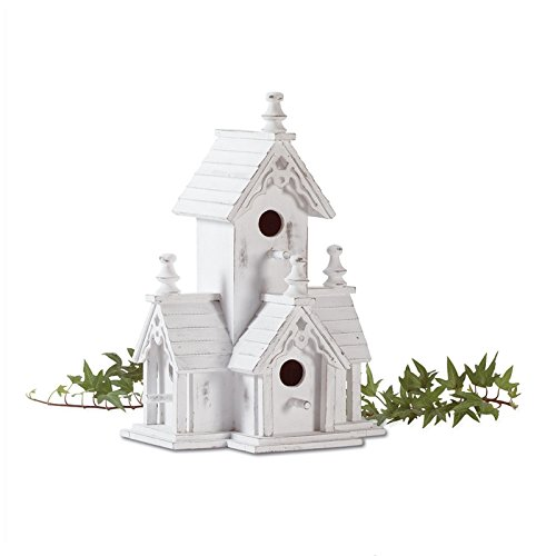 Hot Sale! BIRDHOUSE: Shabby Distressed White Wood Victorian Style Bird House - Rock Texas Outlet Round
