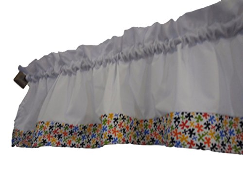 Classroom White and spinning shapes valance curtain Red, blu