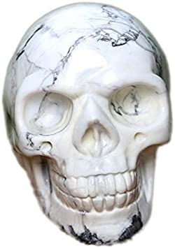 StealStreet SS-G-44059 6, White 6 Inch Blue Gemstone Eye Skull Skeleton Statue Figurine