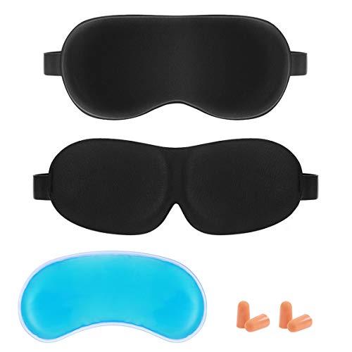 Frcolor Sleep Mask 2 Pack, 3D Contoured Eyemask Silk Eye Mask for Sleeping Adjustable Soft Eye Cover Night Blindfold Eyeshade for Men Women Kids, Reusable Ice Pack and EarPlugs Included for $<!--$10.19-->
