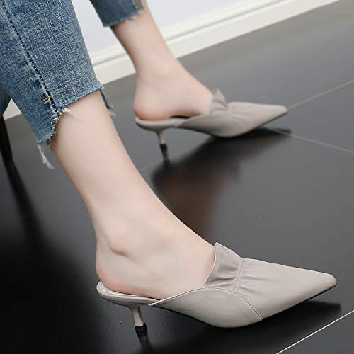 Fashion Heel Baotou Lady Thin SFSYDDY Outwear Sandals High Beige 5Cm Summer Half Sexy Slippers Slippers Heel Pointed P77nBt