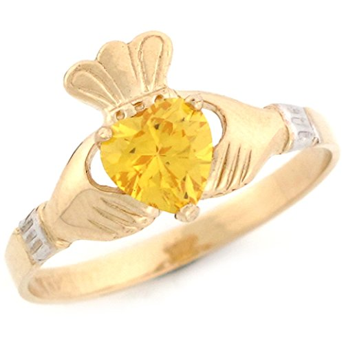 Jewelry Liquidation 10k Two Tone Gold Claddagh Heart Yellow CZ Simulated November Birthstone Ring