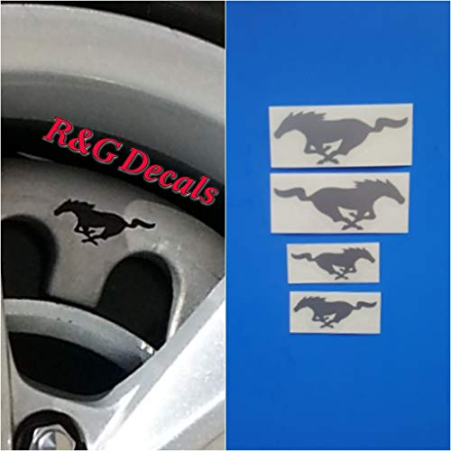 R&G Pony Brake Caliper HIGH TEMP Decal Sticker Set of 4 Decals + Instruction and Decal Surface Preparation Solution (Metallic Silver)